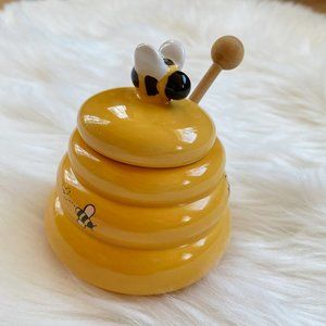 Sur La Table yellow bumblebee honey jar pot